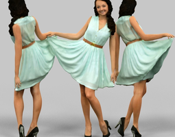 3D asset Girl lifting green dress