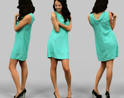 Woman in green dress 3D asset