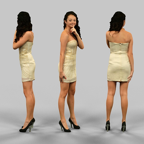 female silencing 3d model obj mtl fbx 1