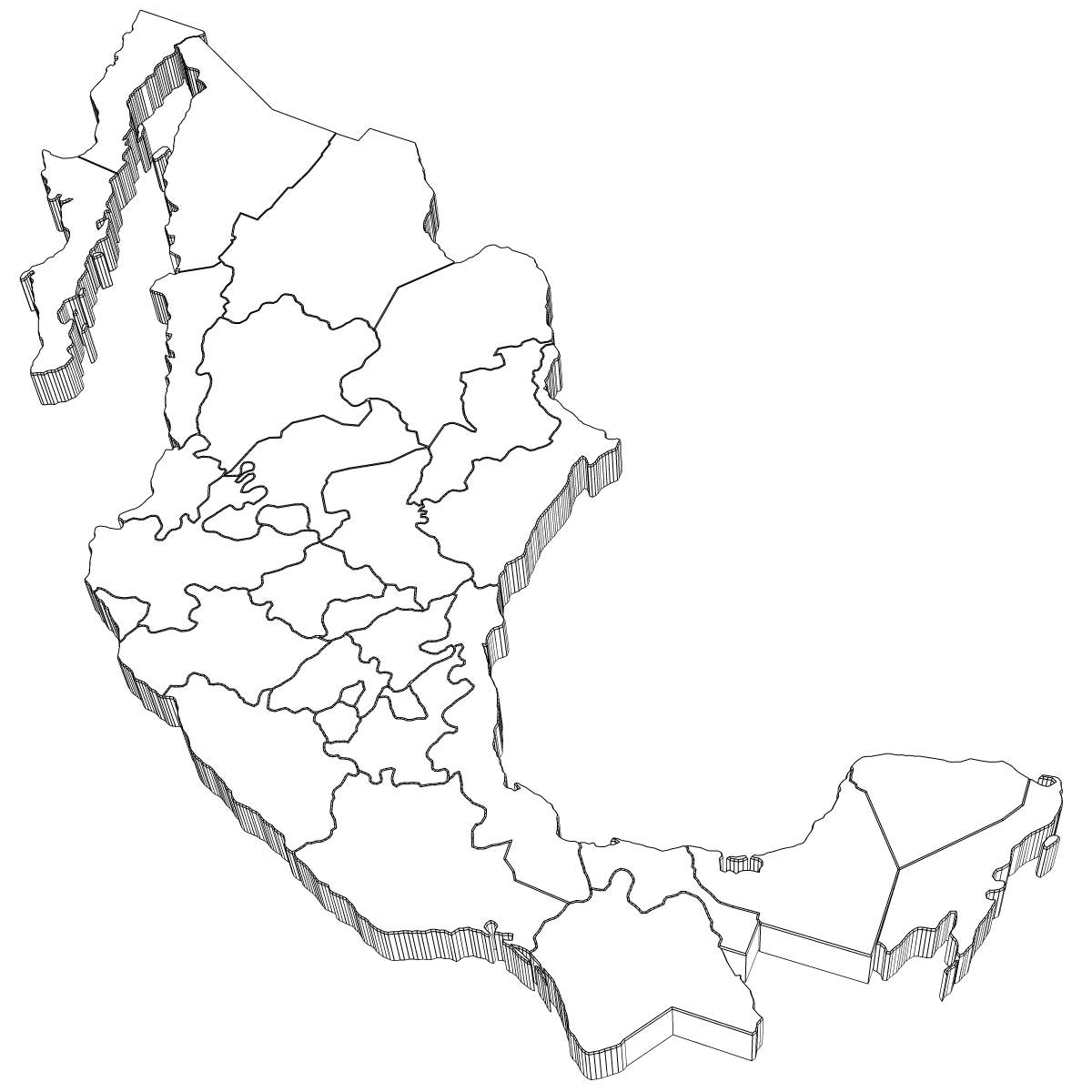 mexico map 3d model max obj 3ds wrl wrz mtl tga 5