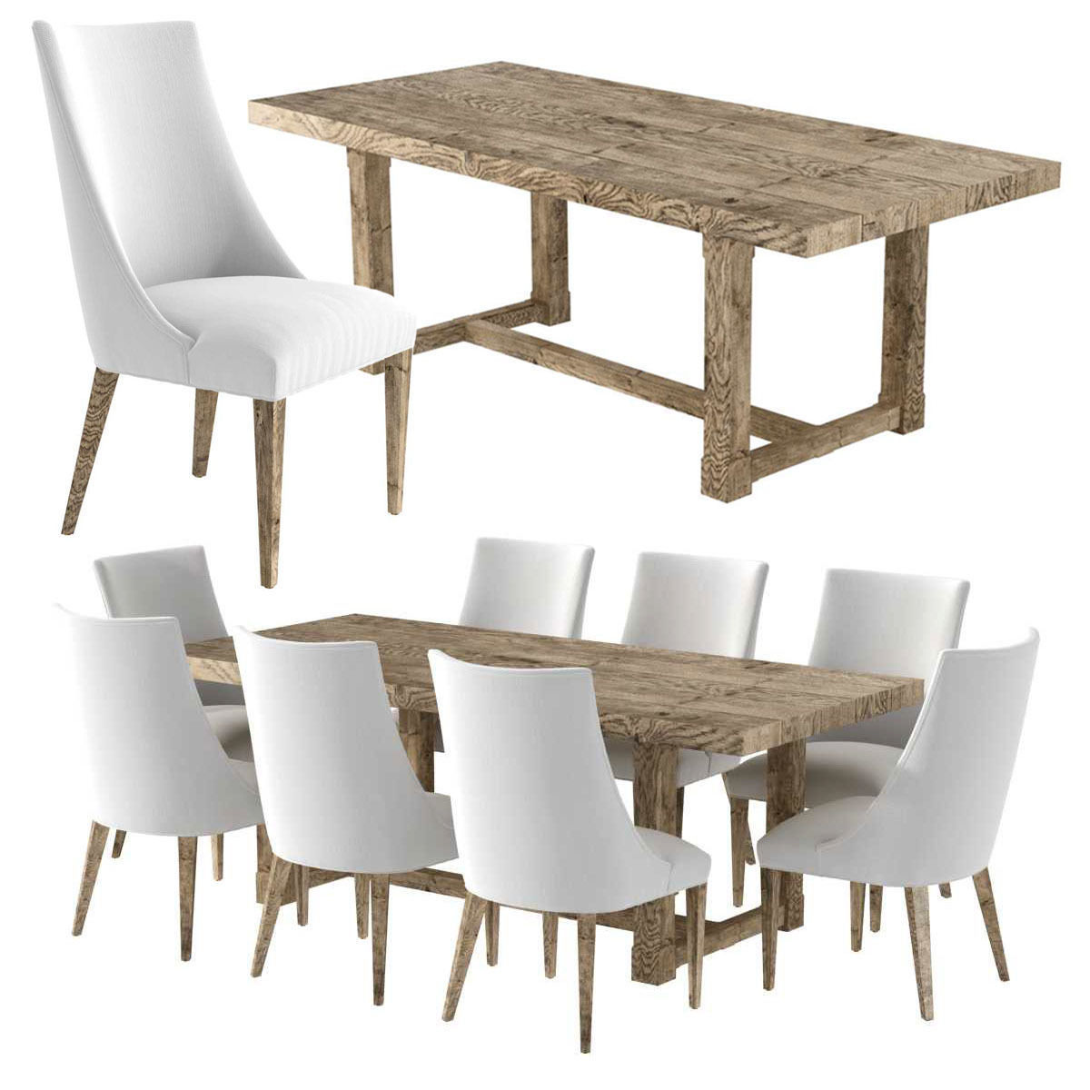 Restoration Hardware ELLA FABRIC CHAIR and CAYDEN  DINING TABLE