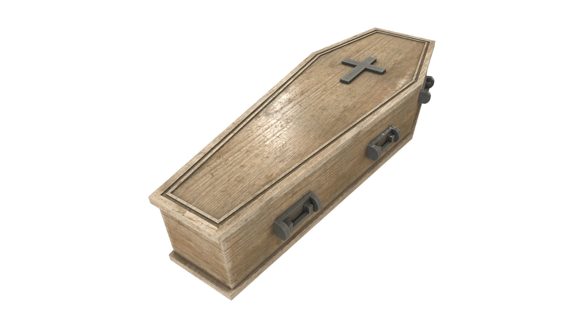 light wood coffin with metal cross