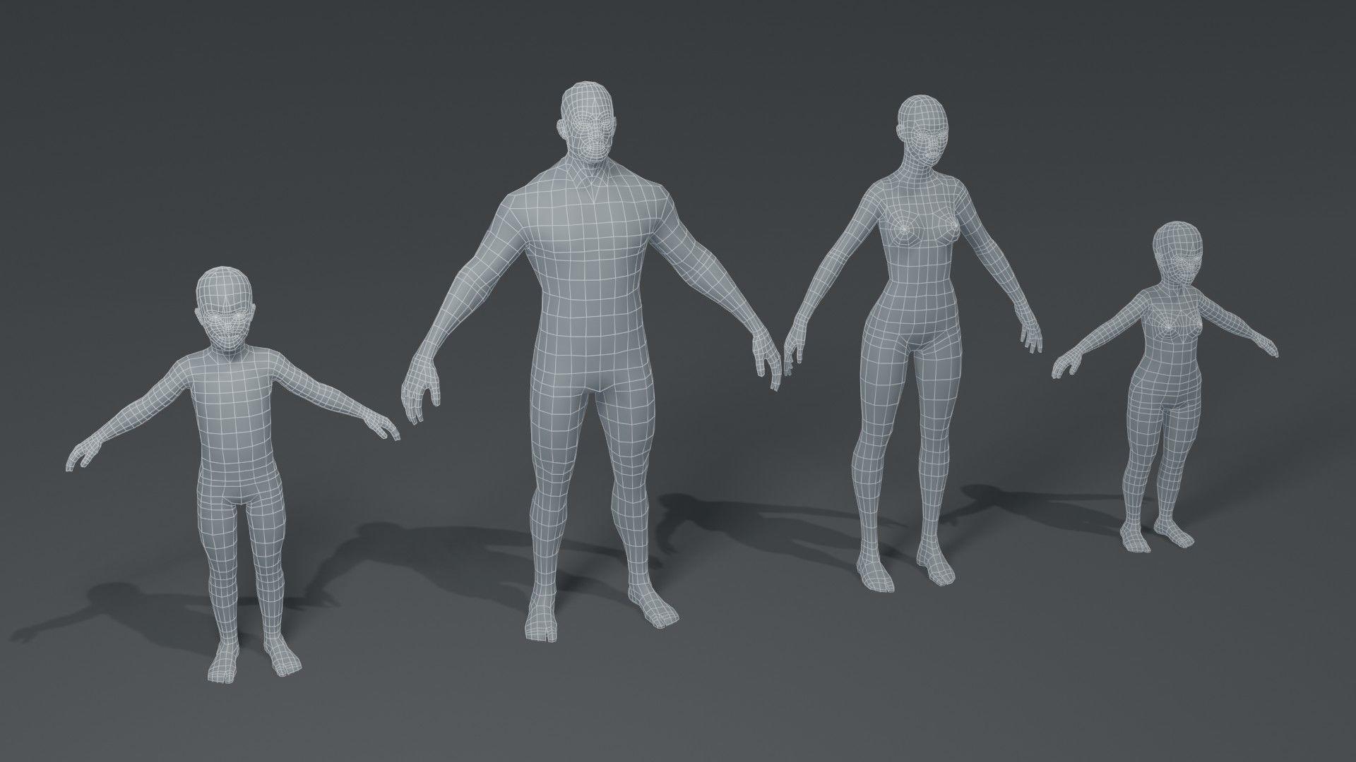 Human Body Base Mesh 3D Model Family Pack
