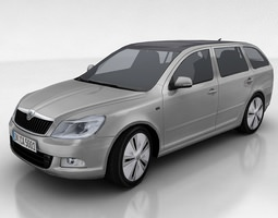 skoda oktavia green e-line VR / AR ready 3d model