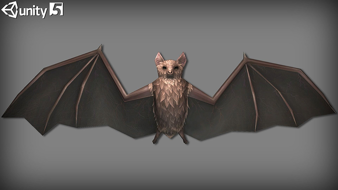 animated bats pack 3d model low-poly rigged animated fbx unitypackage prefab mat 1