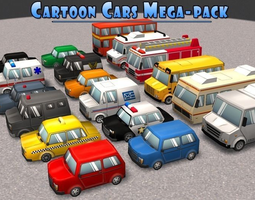 Cartoon Cars Mega-Pack 3D asset