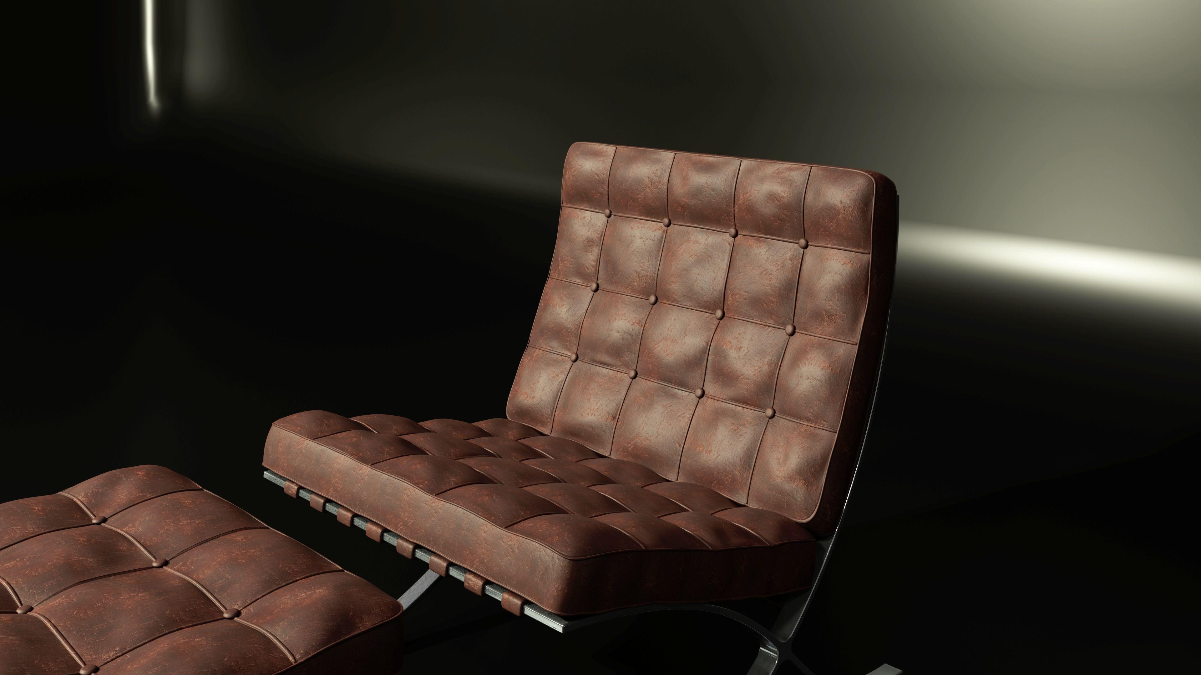 Barcelona Chair medium poly