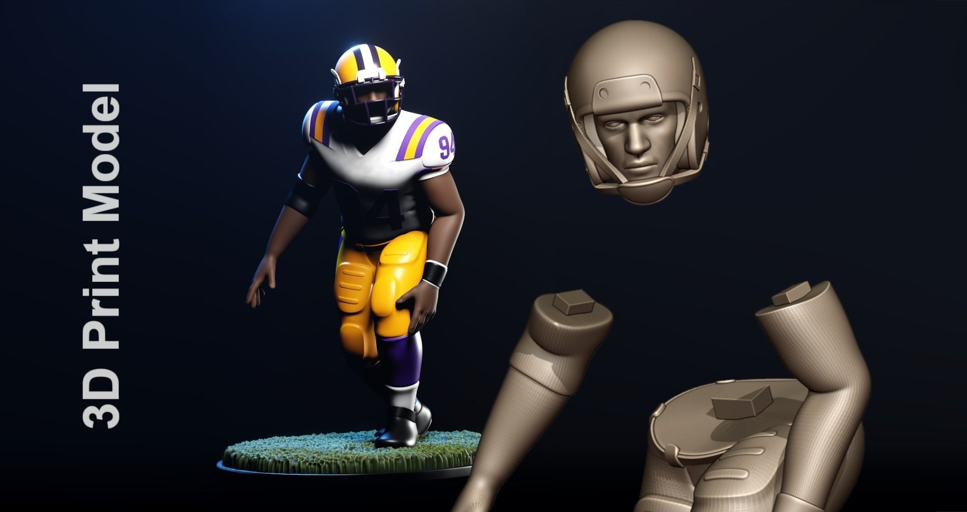 Football Player Figurine 2-Point Stance