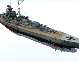 PBR 3d model realtime bismarck battleship