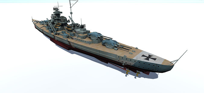 bismarck battleship 3d model fbx tga 1