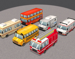 Cartoon Cars pack 3 3D asset