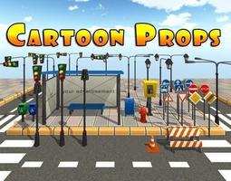 3d asset cartoon street props low-poly