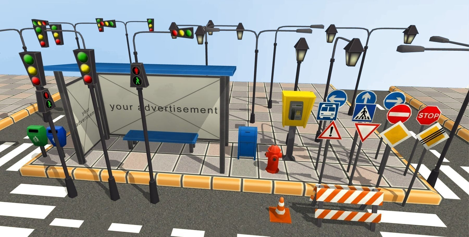 3d Model Vr Ar Ready 231 Road Signs – Fondos de Pantalla