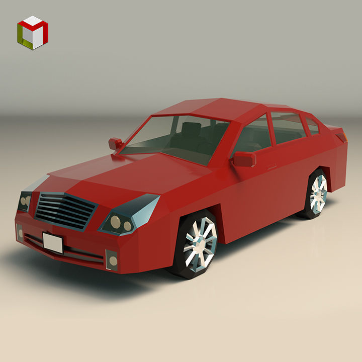 Low Poly Sedan Car 12