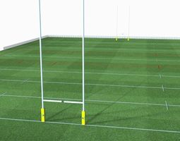 3d asset realtime rugby pitch