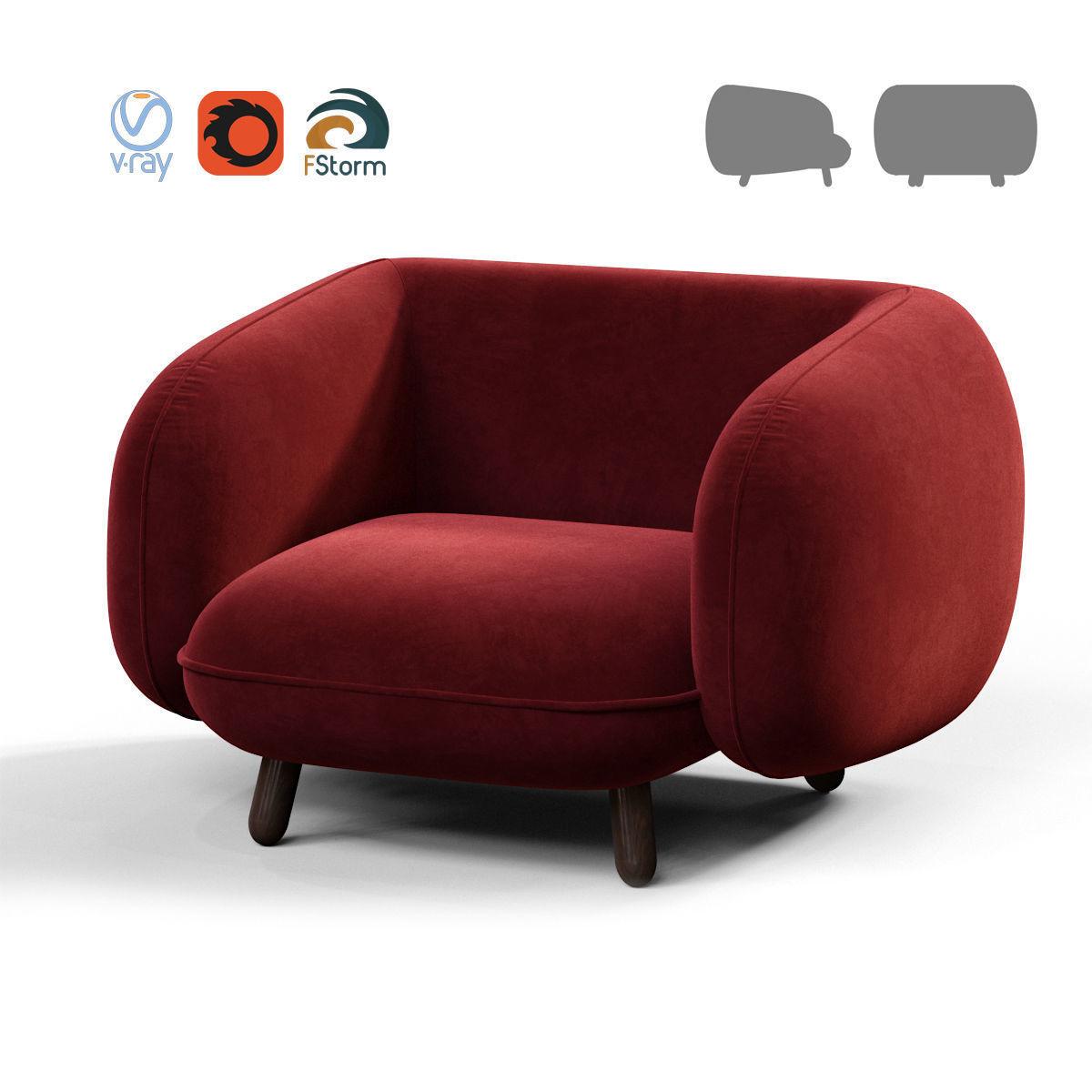 ISKOS Snoopy sofa 3D model MAX OBJ FBX