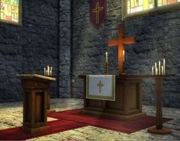 Church Interior Props 3D Model