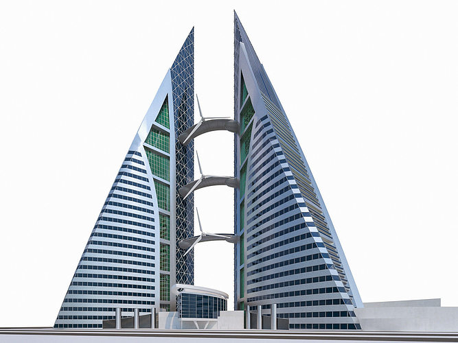 bahrain world trade center 3d model max obj mtl fbx dae 1