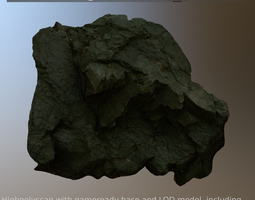 3d asset sharp rockwall scanned and game-ready