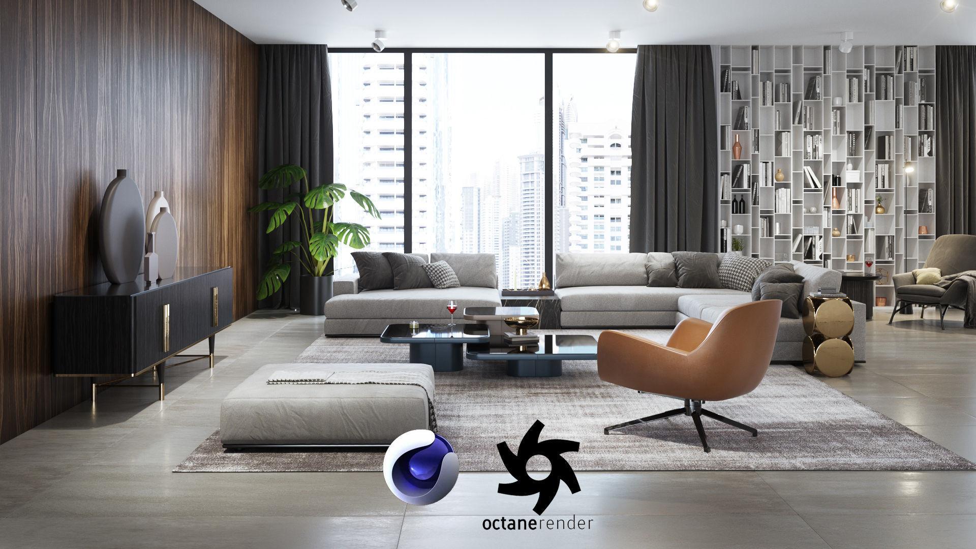 Apartment Scene for Cinema 4D and Octane Render