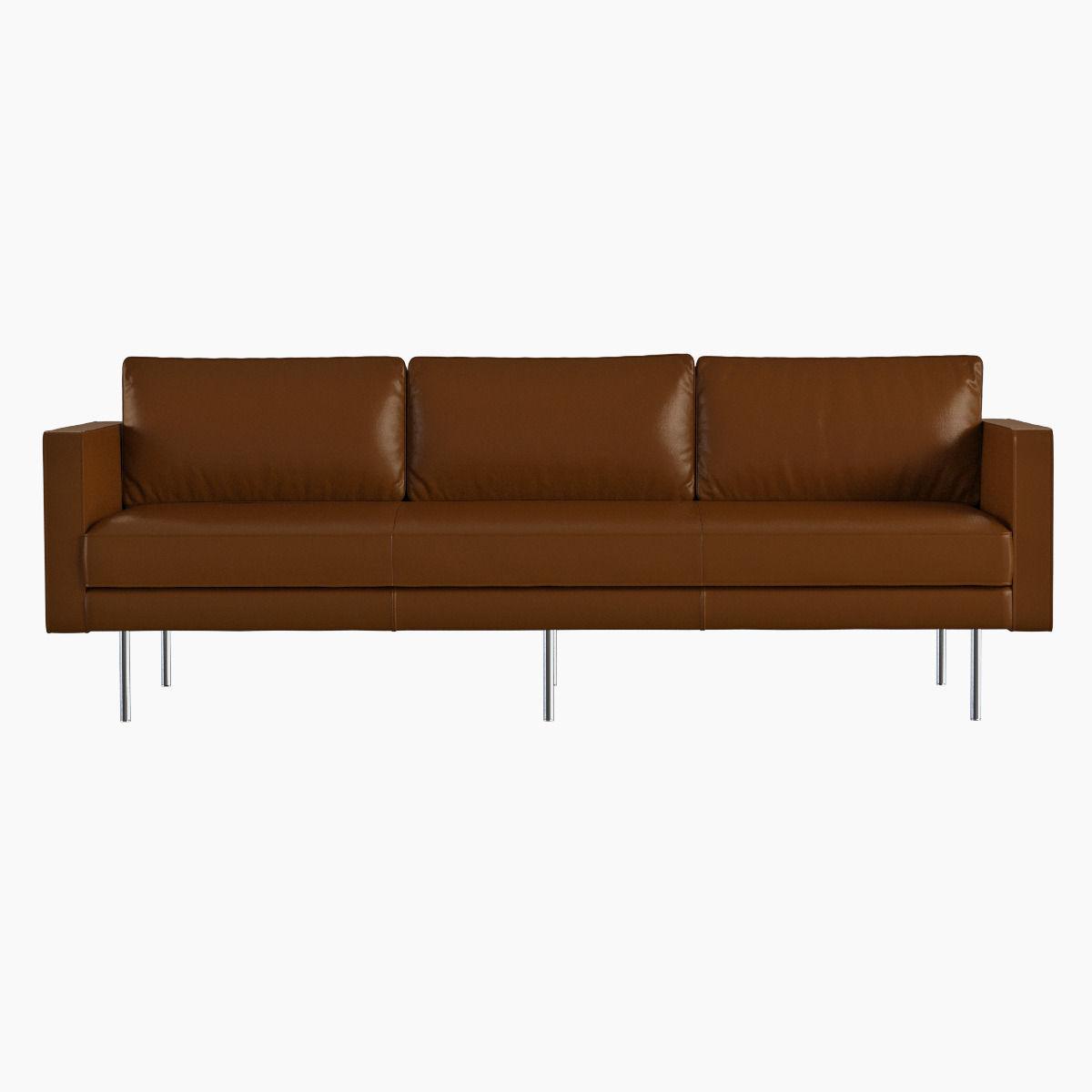 West elm axel leather sofa 3d model max obj fbx for Model furniture