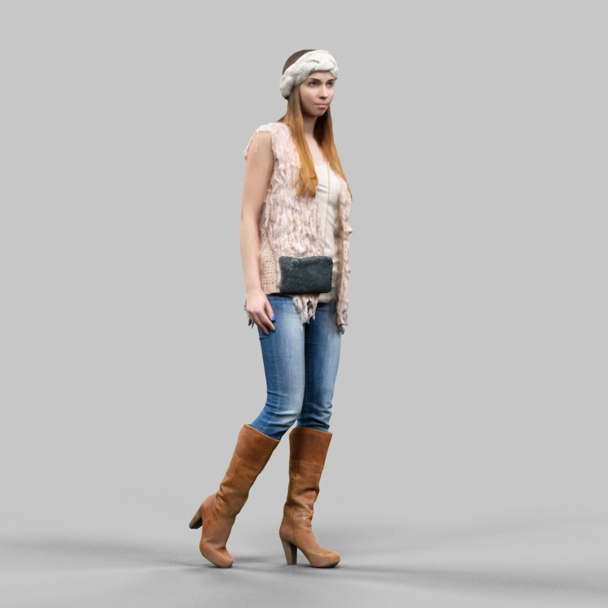 3d Model Girl In Fluffy Cardigan Jeans And Boots Vr Ar