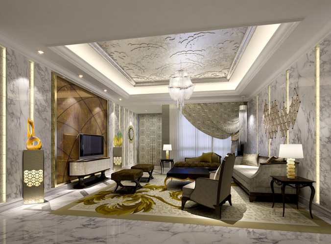 Luxury living room 3D architecture | CGTrader