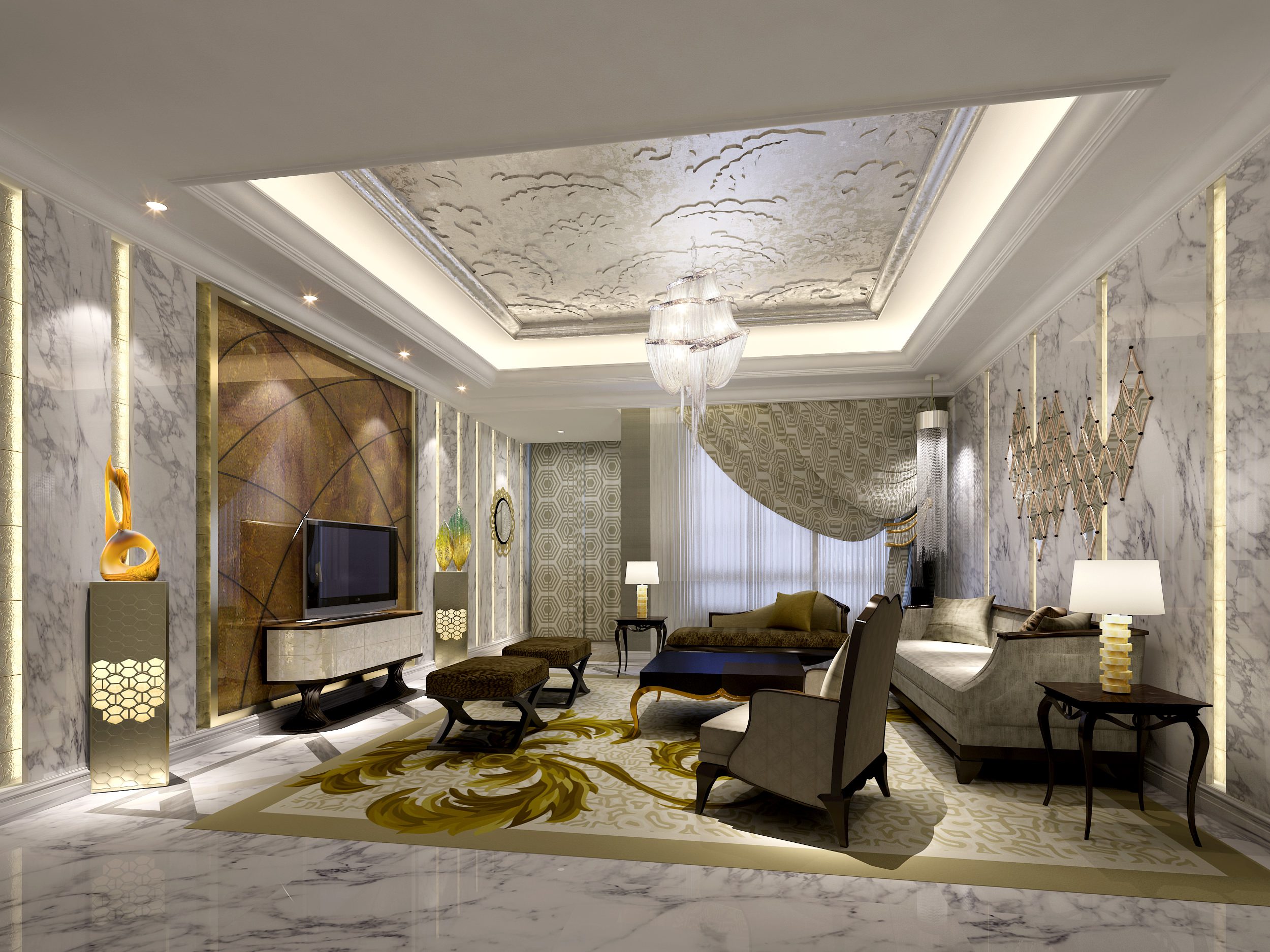 Living Room 3d Model luxury living room 3d architecture | cgtrader