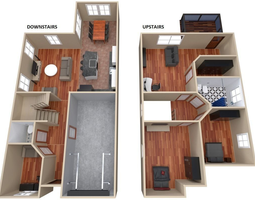 house - floor plan 3d model low-poly
