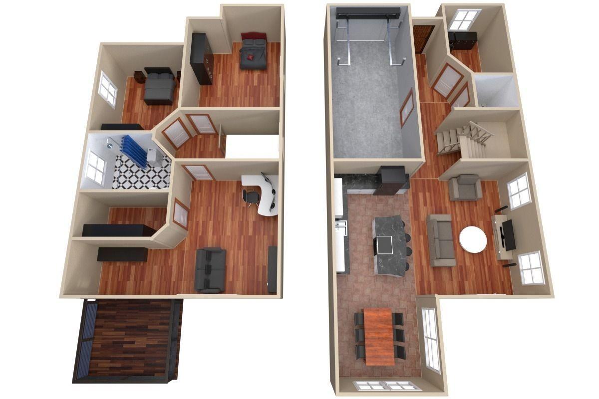 House Floor Plan 3d Model Obj 3ds Fbx Blend Dae 3