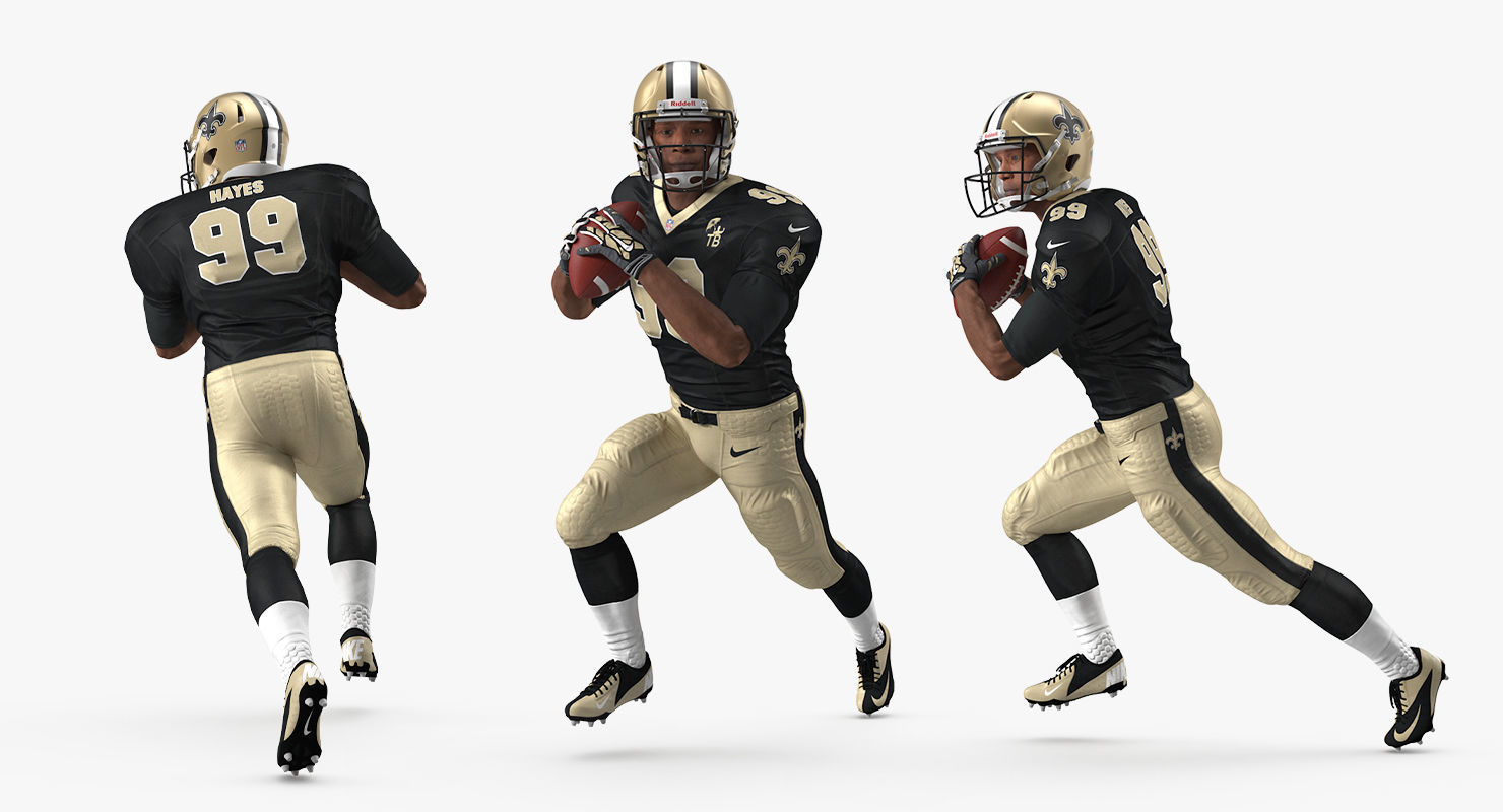 US Football Player New Orleans Saints Running Pose