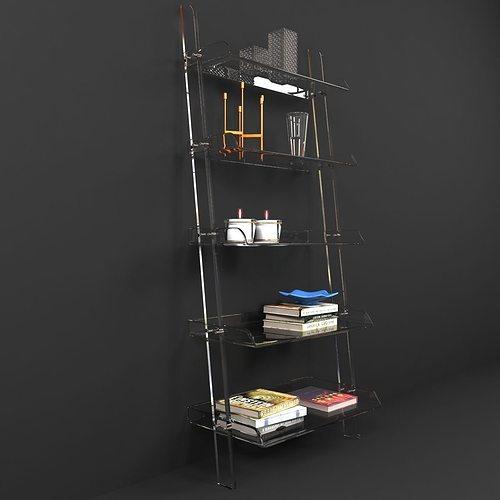 Wisteria Acrylic Leaning Bookshelf 3d Model Max Obj Mtl 3ds Fbx 1