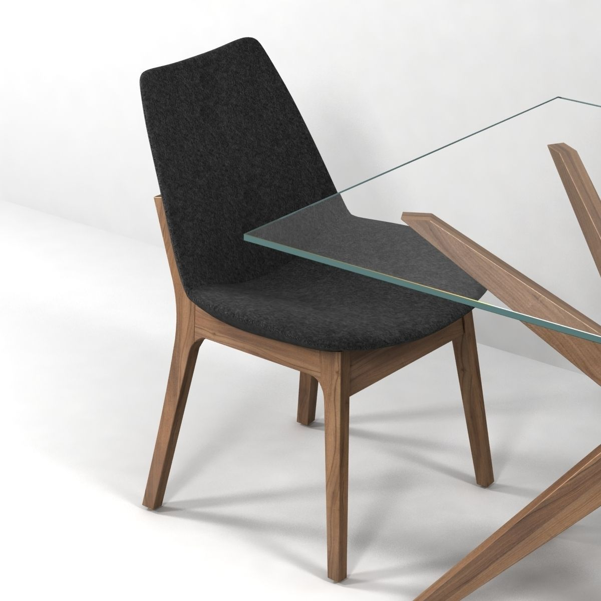 Magna Glass Dining Table by inmod sohoconcept eiffel wood chair 3D ...