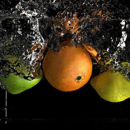 realistic fruit splash 3d model blend 1