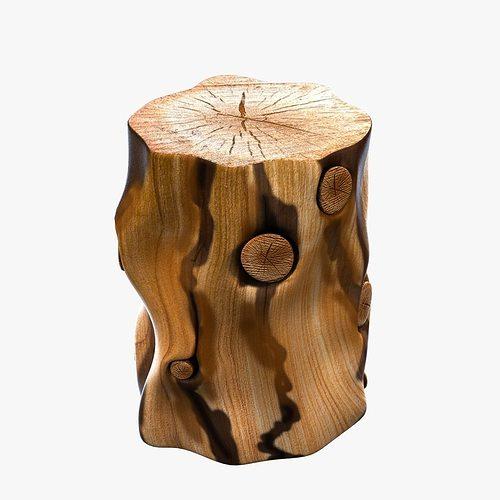 ... West Elm Natural Tree Stump Side Table 3d Model Max Obj 3ds Fbx Mtl 5  ...
