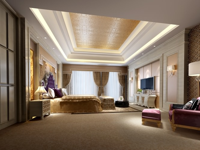 Huge Luxury Bedroom 3d Cgtrader