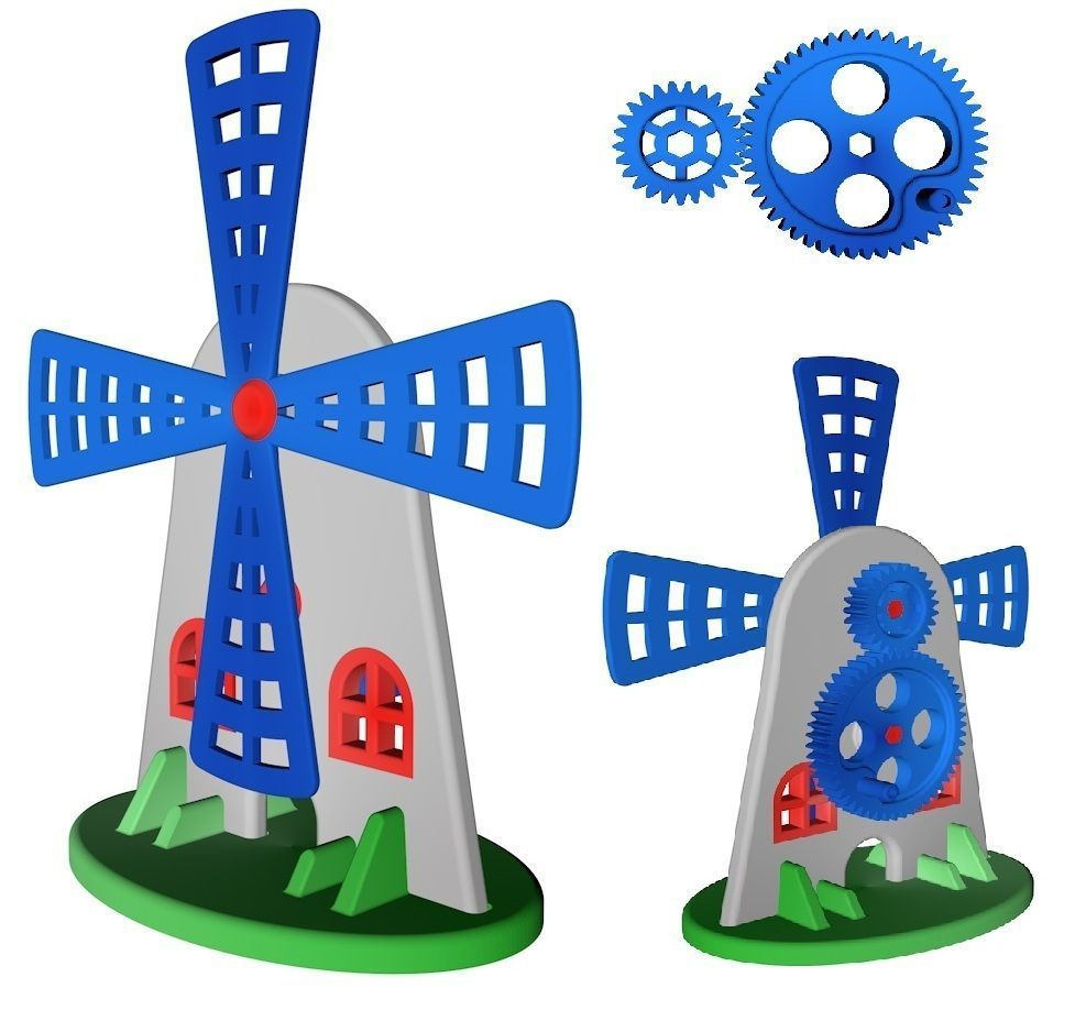 Toy for children or fun - Gear mill for CNC and printing