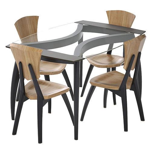 Lily Custom Glass Top Dining Table 3d Model Max Obj Mtl Fbx 1