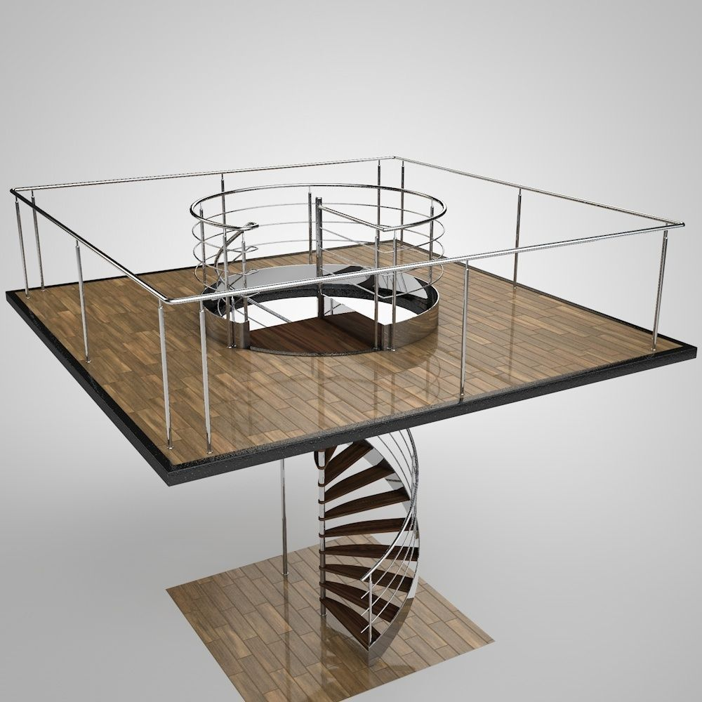 ... Spiral Staircase 3d Model Obj Mtl 3ds Fbx C4d 3 ...