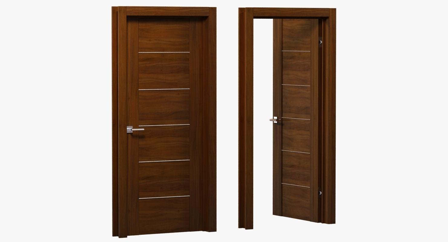 modern brown wood door 3d model max obj 3ds fbx mtl unitypackage 1 ... & 3D model Modern brown wood door | CGTrader