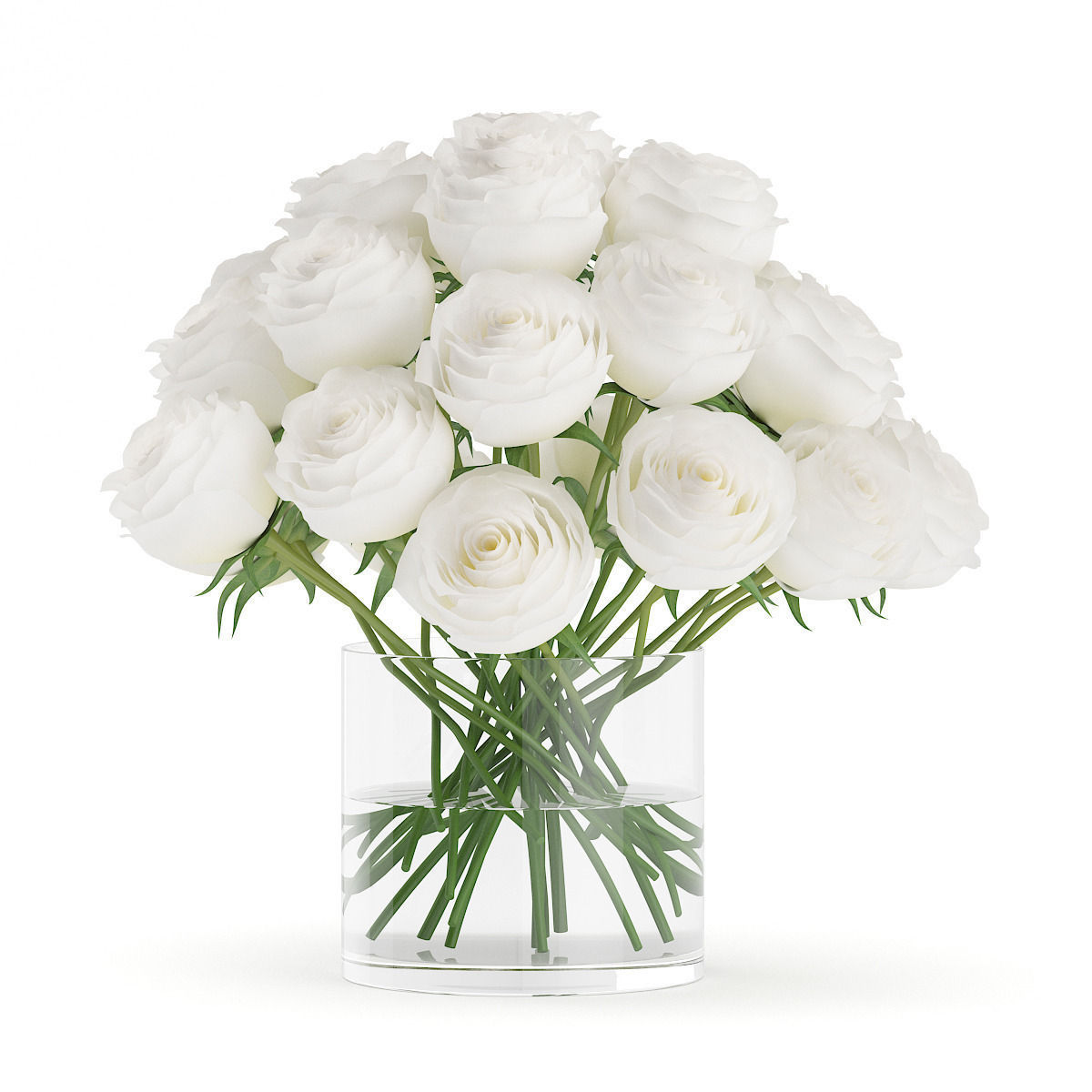 3d Model White Roses In Glass Vase Cgtrader