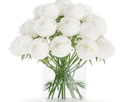 white roses in glass vase 3d model