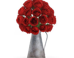 red roses in metal kettle 3d