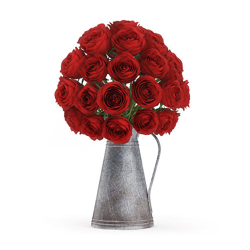 red roses in metal kettle 3d model max obj fbx c4d mtl 1