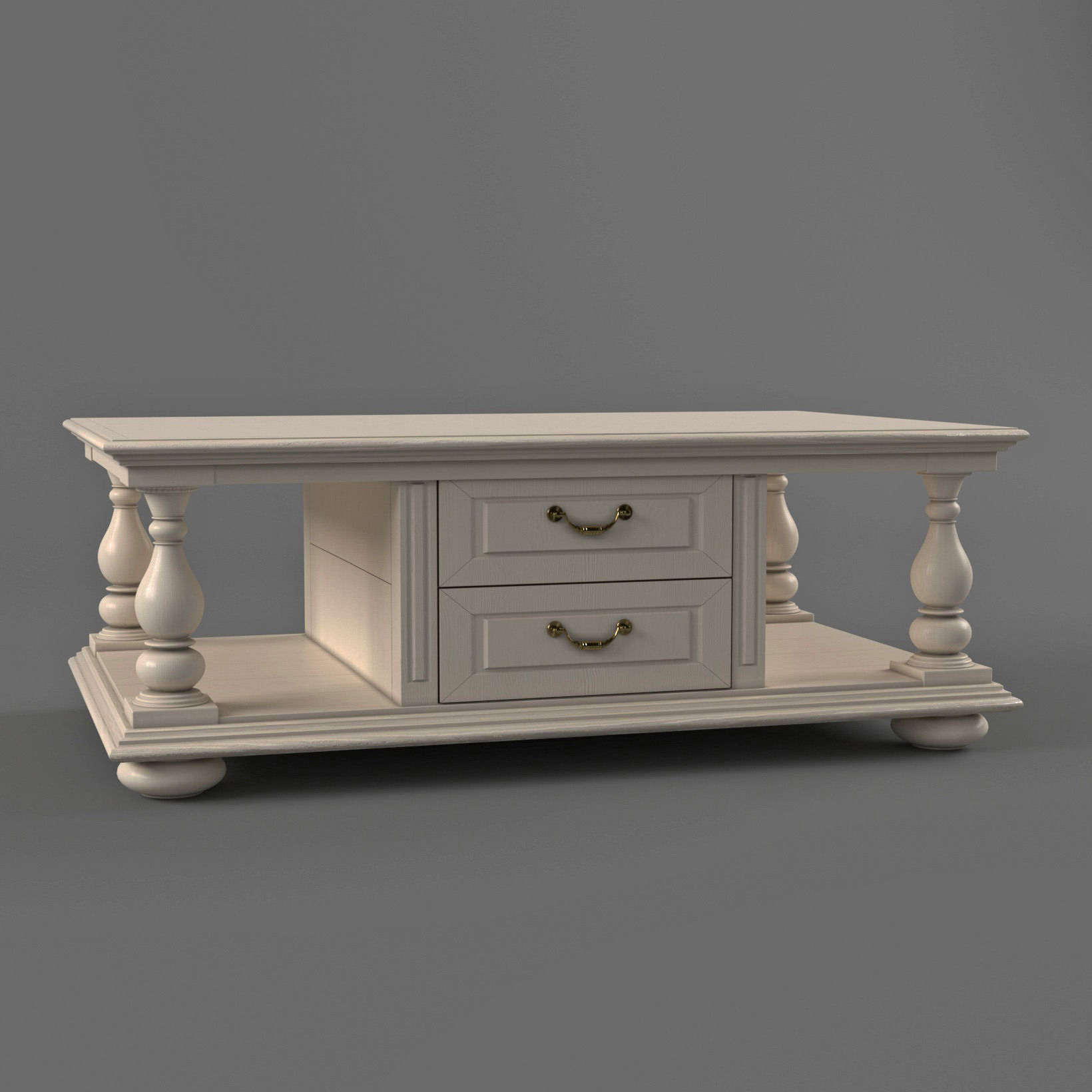 White coffee table in classic style
