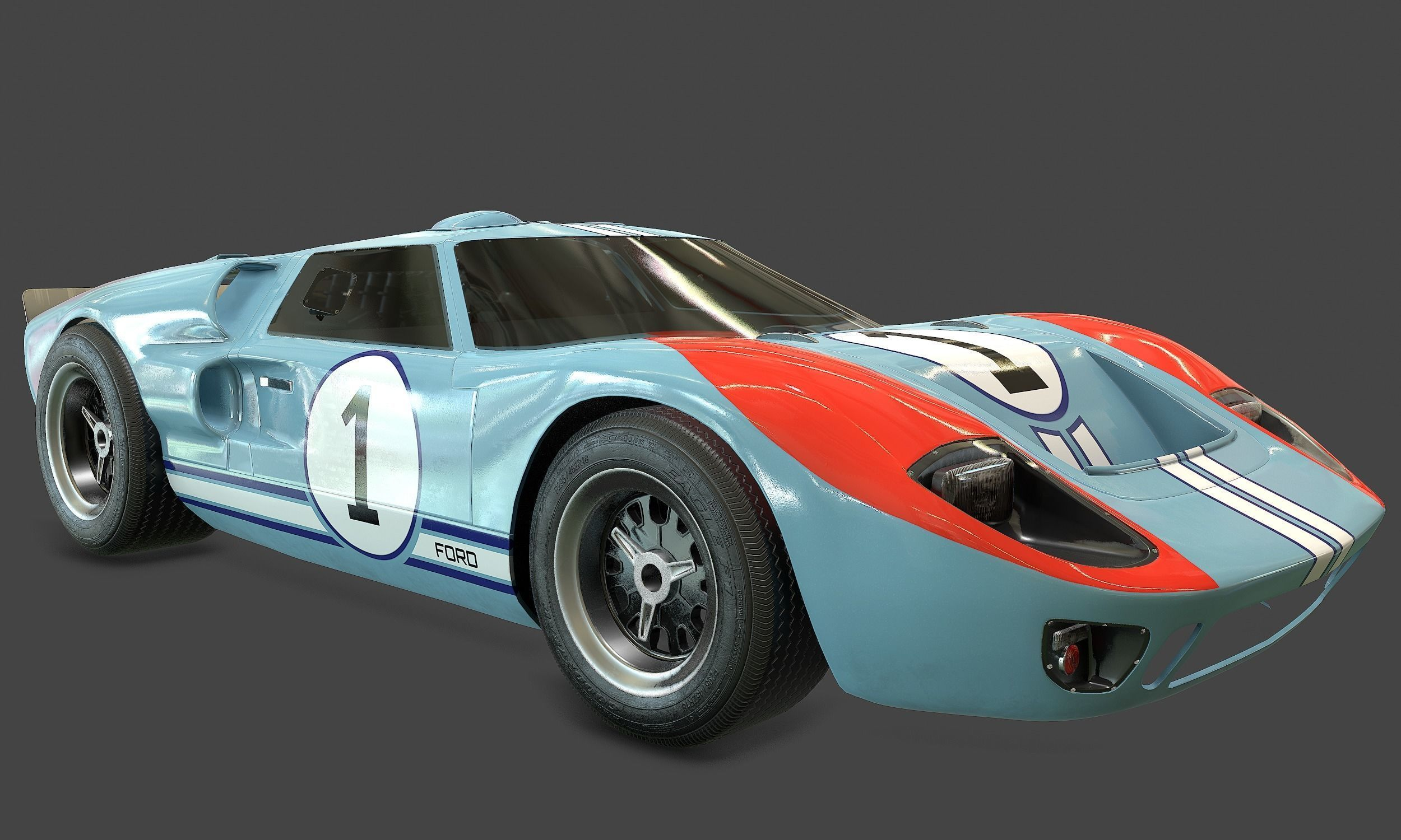 Ford Gt40 Shelby Mk2 1966 Rigged 3d Asset Cgtrader