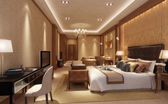 Hotel Room 3d Model Huge Bedroom Cgtrader