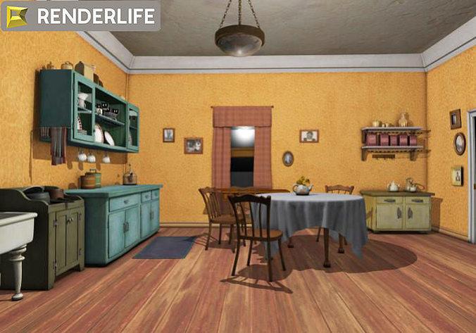 Kitchen 3d Model vintage kitchen 3d   cgtrader