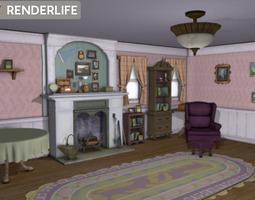 Old farmhouse living room 3D