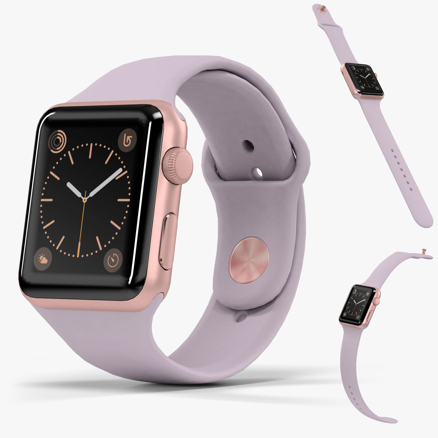 Apple Watch Rose Gold Aluminum Case Lavender Sport Band